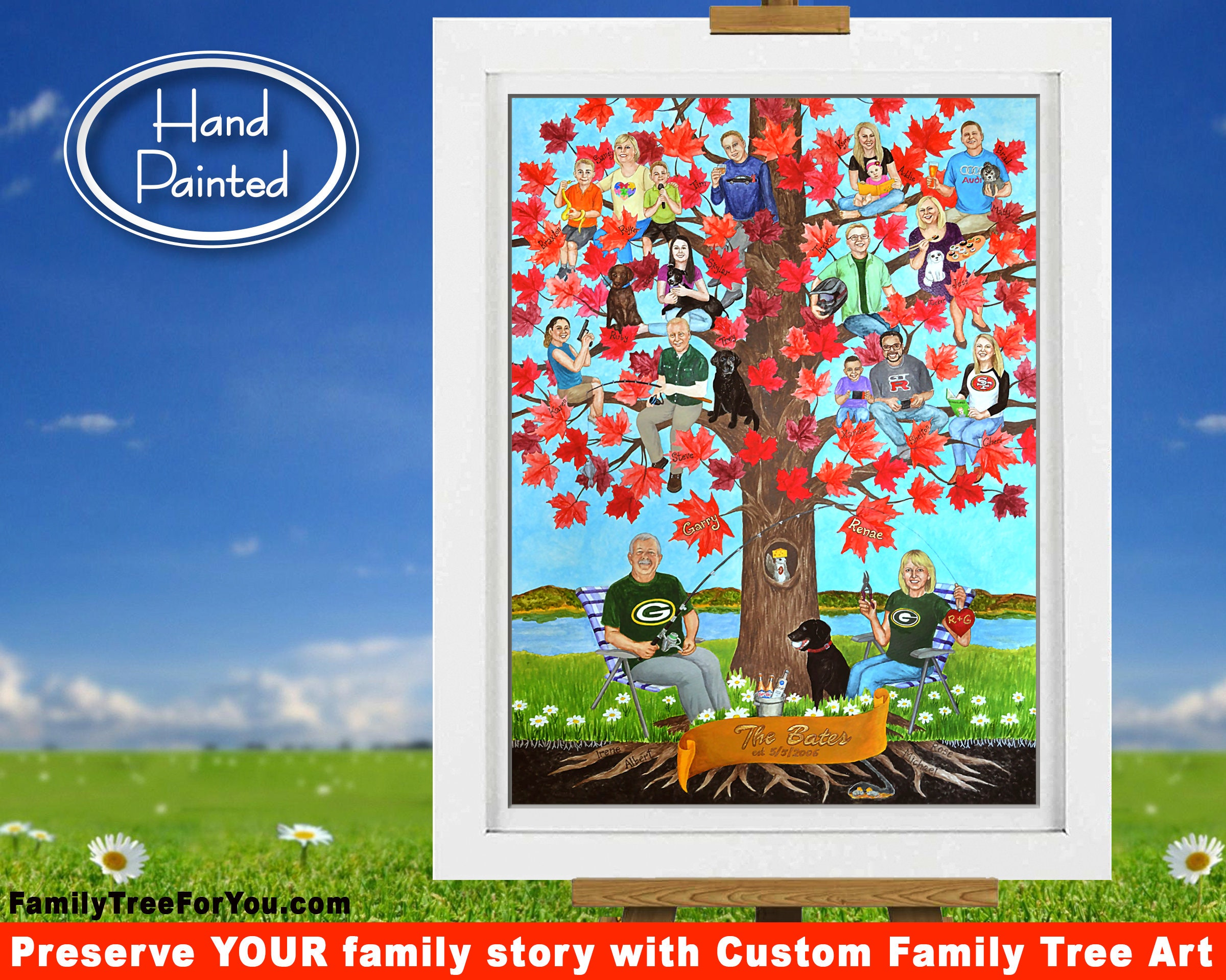 Large family tree  Personalized family tree  Large family custom  illustration  Big family tree art personalized with portraits & names