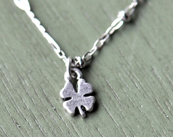 Silver Four Leaf Clover Necklace- St Patrick's Day- Small- Four Leaf Clover- Shamrock Necklace- Irish Necklace- Gift for Her