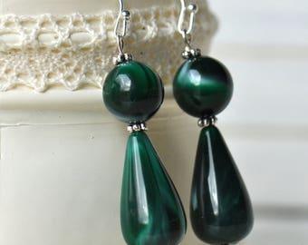 Silver and Green Dangle Earrings- Green Earrings- Dark Green- Silver Earrings- Green Beaded Earrings- Boho Earrings- Affordable-Gift for Her
