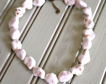 Beaded Choker Necklace- White Beaded Necklace- Choker Necklace- Boho Choker Necklace- Hippie Choker- Hippie Necklace- Boho Jewelry
