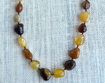 Neutral Necklace- Brown Necklace- Beaded Necklace- Boho Necklace- Boho Jewelry- Hippie Necklace- Gift for Her