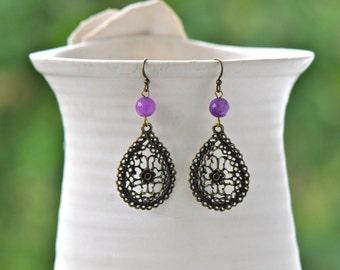 Purple Earrings- Teardrop Earrings- Bronze Earrings- Hippie Earrings- HIppie jewelry Boho Earrings- Boho Jewelry- Gift for Her