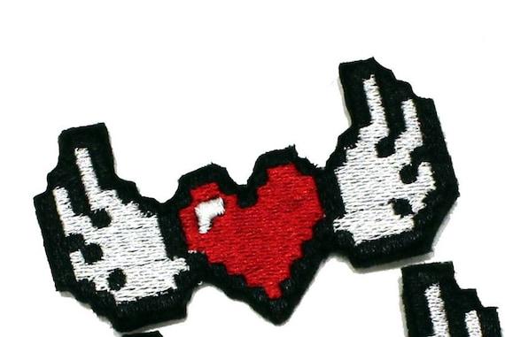 Clips De Cheveux Pixel Heart Ailés