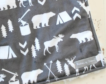 Wild Animal Blanket - Forest Animal Swaddle Blanket- Baby Blanket - Deer Blanket - Toddler Blanket - Bear Blanket - Animal Boy Blanket