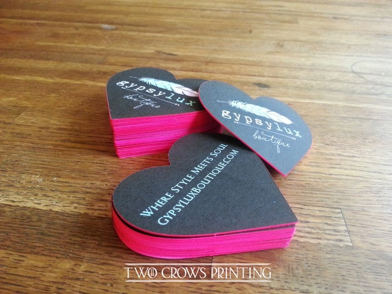Heart shaped edge painted business cards die cut corners etsy reheart Gallery