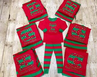 e081479d2ec77 Family Matching Christmas PJ's/ Christmas Lights PJ's/ Sibling Pajamas  Christmas/ PJ's Christmas/ Family Matching Pajamas/ Size Newborn-3XL