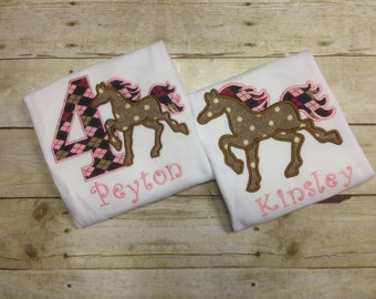 Personalized Girls Horse Shirt/ Horse Birthday Shirt/ Pony Shirt/ Monogrammed Pony Birthday Shirt