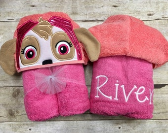 Personalized Sky Pup Hooded Towel/ Helicopter Pup Hooded Towel/ Disney Towel/ Aviation Towel/ Girl Dog Towel/ Pink Dog Hooded Towel