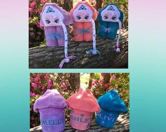 Ice Queen Hooded Towel/ Princess Hooded Towel/ Snow Queen Hooded Towel/ Cold Sisters Hooded Towel/ Beach Towel/ Pool Towel/ Personalized