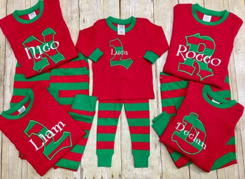 0826f5b0ad Personalized Christmas Pajamas  Kids Christmas PJ s   Christmas Jammies  Monogrammed  Pajamas  Holiday Pajamas  Matching PJ s- size NB-3XL