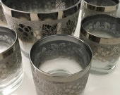 Smoky Grey Grape Leaf Drink Ware Barware Rock Glasses Low Ball Whiskey Glasses Glassware and Ice Bucket Cocktail Bar Set