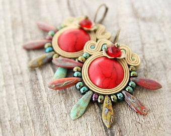 Red spike earrings, red boho earrings, spiky bohemian earrings, soutache jewelry, boho jewelry, thorny earrings