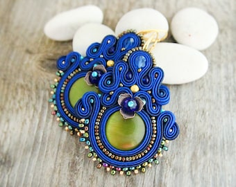 Blue dangle earrings, soutache earrings, large blue earrings, chandelier earrings, royal blue earrings, soutache embroidery