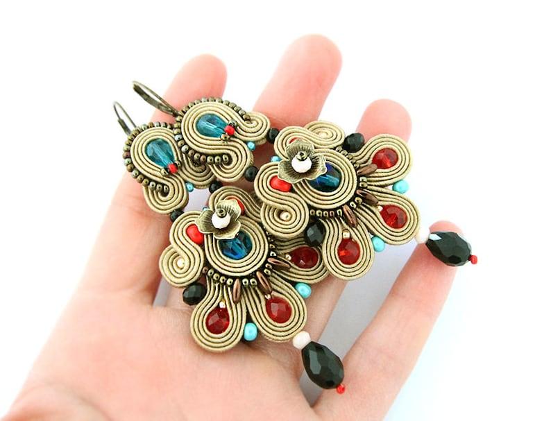 statement soutache earrings bohemian colorful dangle earrings large chandelier earrings Long brown soutache earrings