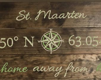 Latitude Longitude Sign with Name of Location and Our Home Away From Home Wood Sign, Vacation Place Wood Sign, Latitude Longitude Wood Sign