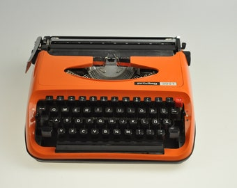 Privileg 300T Working Typewriter, Portable Typewriter, Vintage Typewriter, Orange Typewriter, Manual Typewriter, Retro Typewriter