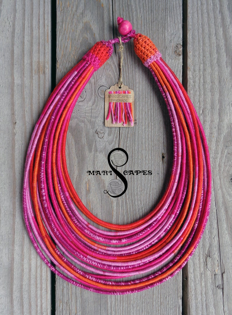 Cotton Love #5 yarn-wrapped necklace  tribal  hippie  bohemian  pink  fuchsia  100/% cotton