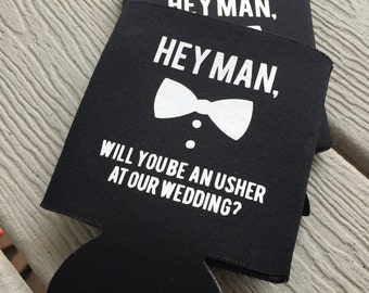 Bridal Party Can Cooler, Usher in our Wedding Can Holder, Best Man Beverage Insulator, Bridal Party Gift, Wedding Can Holder