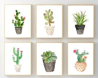 Watercolor Cactus Prints, Succulent Wall Art, Plant Poster, Botanical Print Set, Nursery Wall Art, Printable Artwork, Gender Neutral