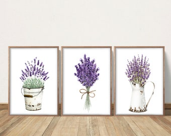 Floral Wall Art Farmhouse Decor Bedroom Purple Lilac Watercolor Lavender Prints Watercolor Flowers Living Room Wall Art Country Decor