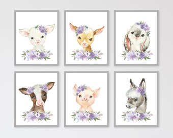 Country Living Art Card 5 x 7 Pig in Lavender Farm Animal Note Card