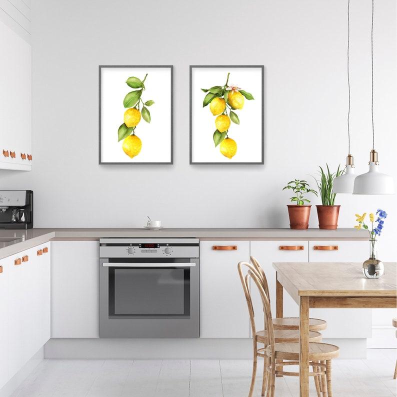 Set of 2 Watercolor Lemon Prints Farmhouse Decor Yellow Art Fruit Prints Still Life Painting Yellow Colorful Wall Art Kitchen Wall Art