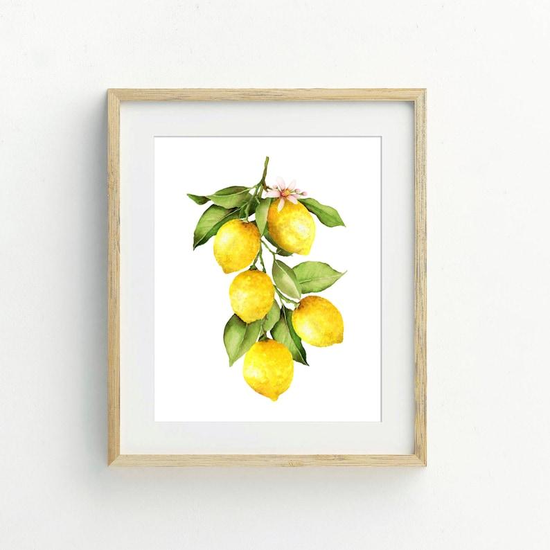 Lemon Kitchen Decor Yellow Wall Art Watercolor Fruit Print Farmhouse Kitchen Decor Watercolor Lemon Prints Printable Kitchen Wall Art