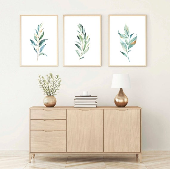 Watercolor Botanical Prints Set Of 3 Greenery Plant Wall Etsy