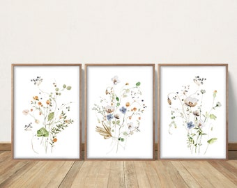 Wildflower Prints, Watercolor Flowers, Farmhouse Decor, Meadow Grass, Bedroom Wall Decor, Pastel Colors, Botanical Greenery Plant Foliage