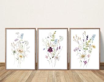 Wildflower Prints, Watercolor Flowers, Farmhouse Decor, Meadow Grass, Bedroom Wall Decor, Pastel Colors, Prairie Foliage, Printable Artwork
