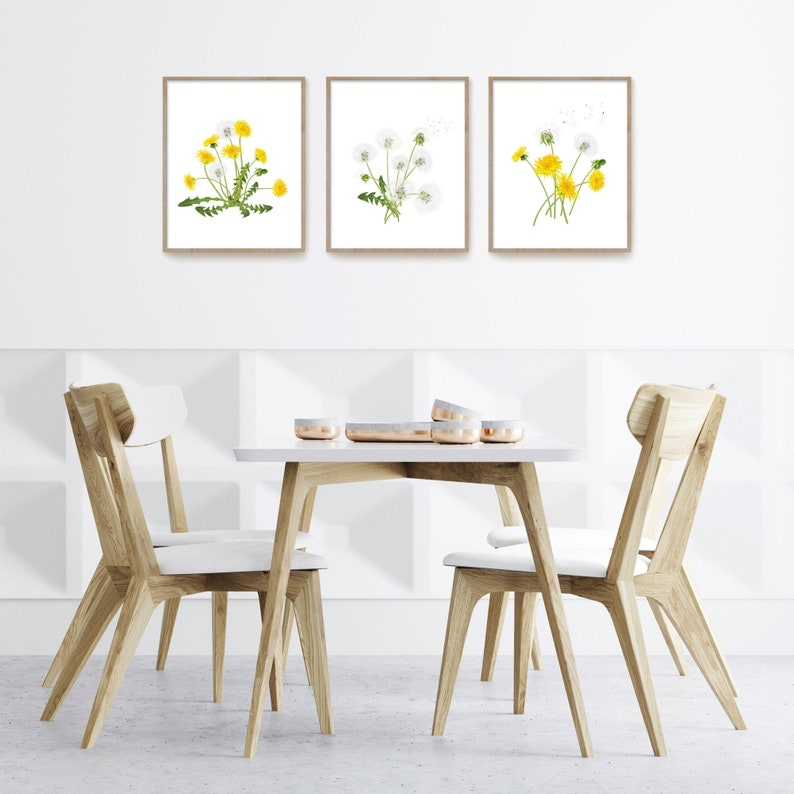 Dandelion Prints Watercolor Wildflowers Nursery Decor Printable Digital Download Bedroom Wall Decor Pink and Yellow Dandelion Wall Art