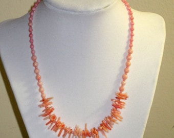 Pink Coral  Artisan Necklace