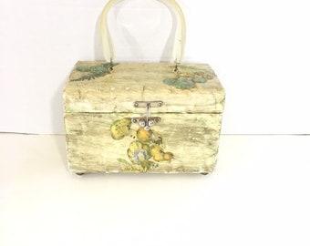 81f69324216f Vintage wood decoupage box handbag raised mushrooms