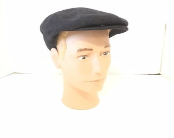 556015d31dd Vintage Black Wool Newsboy Cap   Country Gentleman   Size M