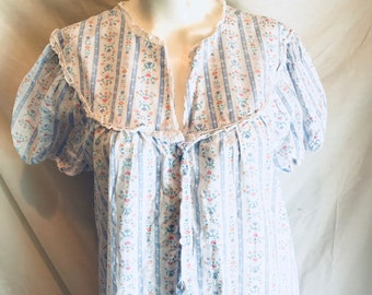 49bc193e51 1970 s Vintage Lanz of Salsburg Cotton Mumu Nightgown Pastel Floral Eyelet  V-neck with Buttons   Size L