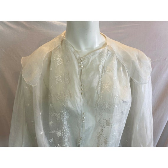 Antique 1900s Embroidered Middy Blouse White Shee… - image 3