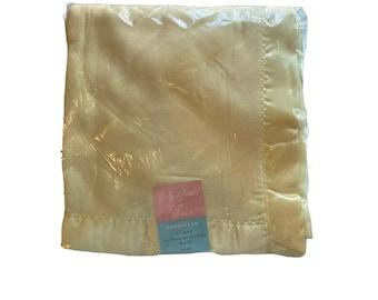 Vintage Yellow Baby Blanket 36 x 50 Beacon Rayon and nylon Bambi Blanket NIP