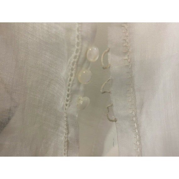 Antique 1900s Embroidered Middy Blouse White Shee… - image 5
