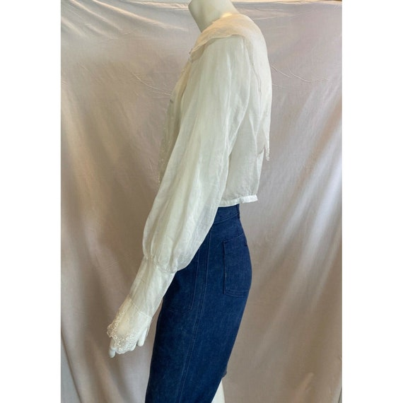 Antique 1900s Embroidered Middy Blouse White Shee… - image 8