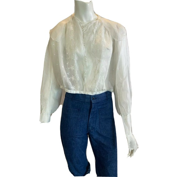 Antique 1900s Embroidered Middy Blouse White Shee… - image 1