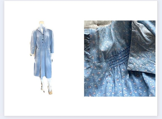 Vintage 30s Cotton Blue Floral Day Dress Volup