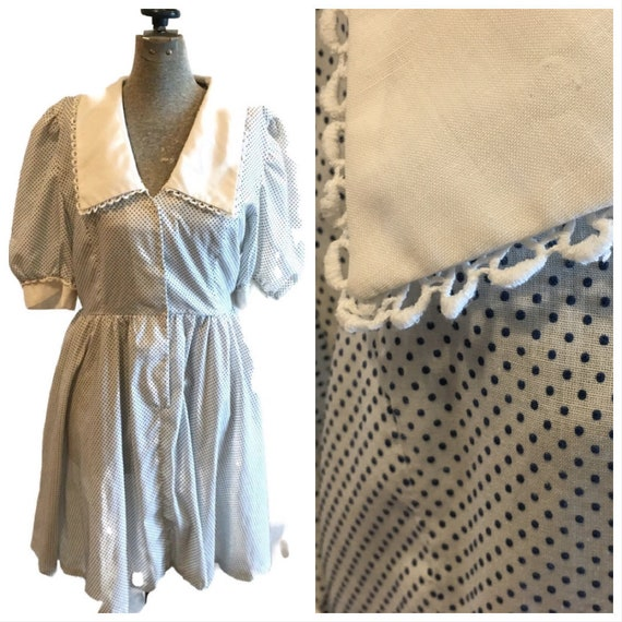 Vintage 1950s Cotton Swiss Dot Fit and Flare Dress