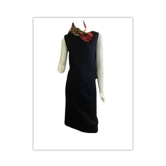 Vintage 60s Black Wool Italian Skirt Suit