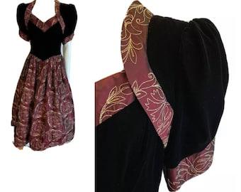 Vintage 80s Jessica McClintock Prom Dress Black Velvet Wine Taffeta Gold Floral