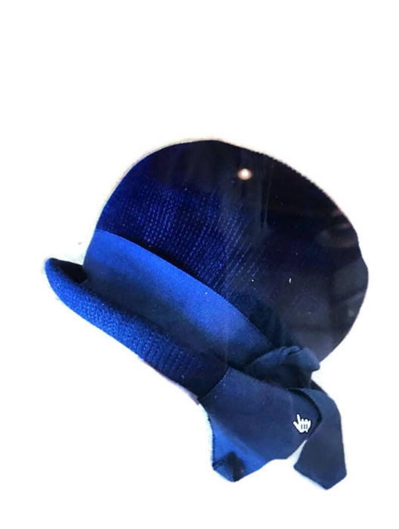 26190f1c1 Vintage 1960s Schiaparelli hat / padre style / navy designer hat / blue  knit bowed hat