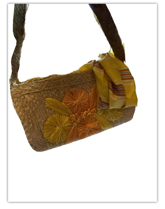Vintage 60s Woven Straw Bag Raffia Flowers