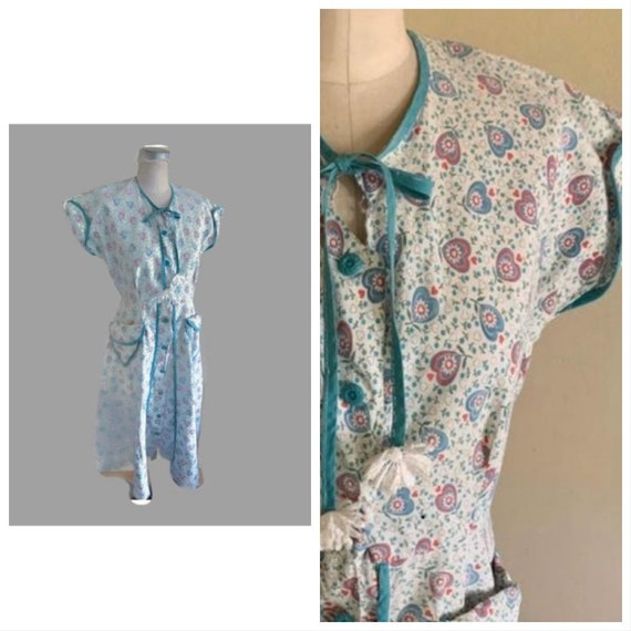 Vintage 30s 40s Turquoise Day Dress Novelty Print