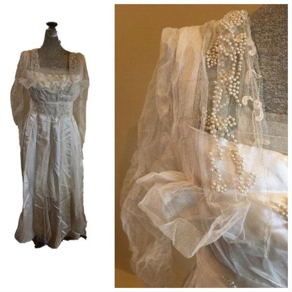 Antique Victorian Edwardian Satin Wedding Dress