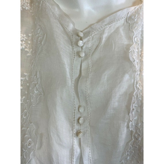Antique 1900s Embroidered Middy Blouse White Shee… - image 4