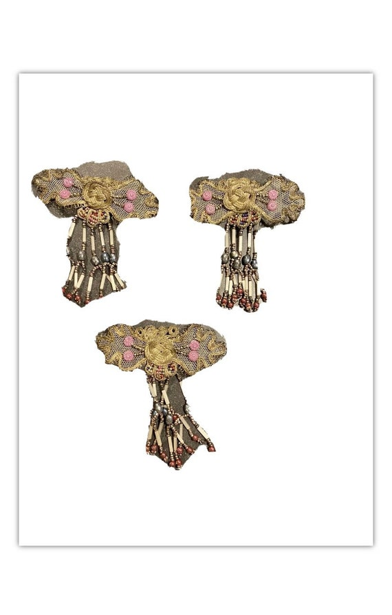 Antique 1900s gold mesh brooches